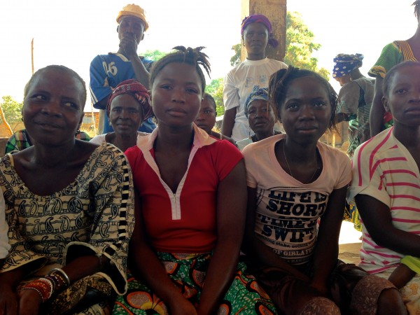 Community members at a meeting with our project partner Pikin to Pikin in Kailahun district, Sierra Leone.