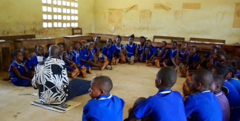 Children at a child to child session in Sierra Leone with our partner Pikin to Pikin.