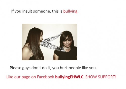 One of the posters created by the young people to raise awareness of bullying.