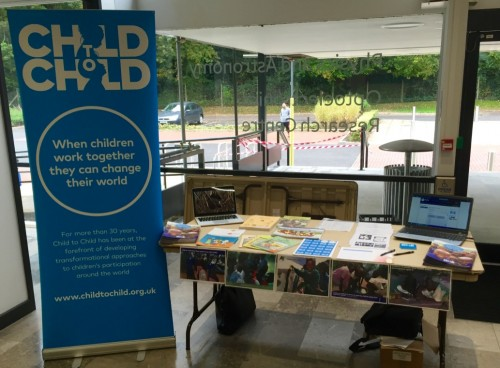 The Child to Child stall at the International Development Conference in Southampton University.